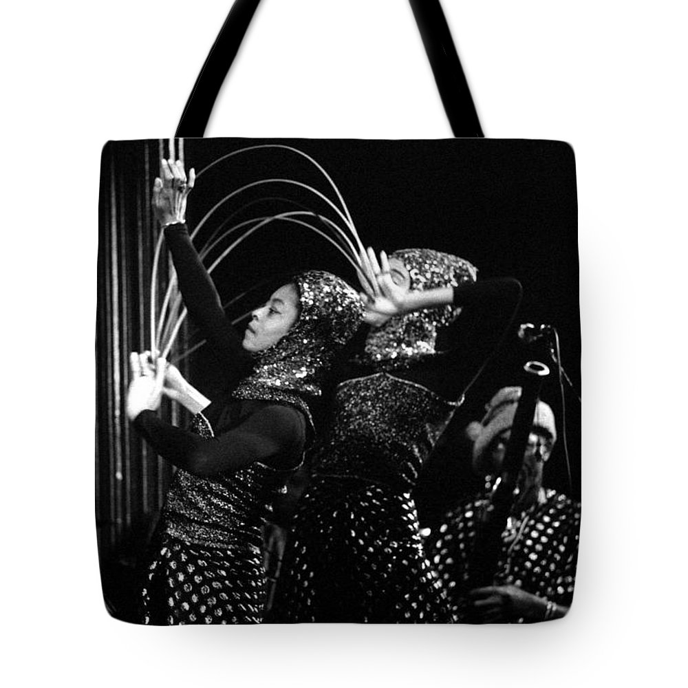 Sun Ra Tote Bag featuring the photograph Sun Ra Arkestra And Dancers by Lee Santa