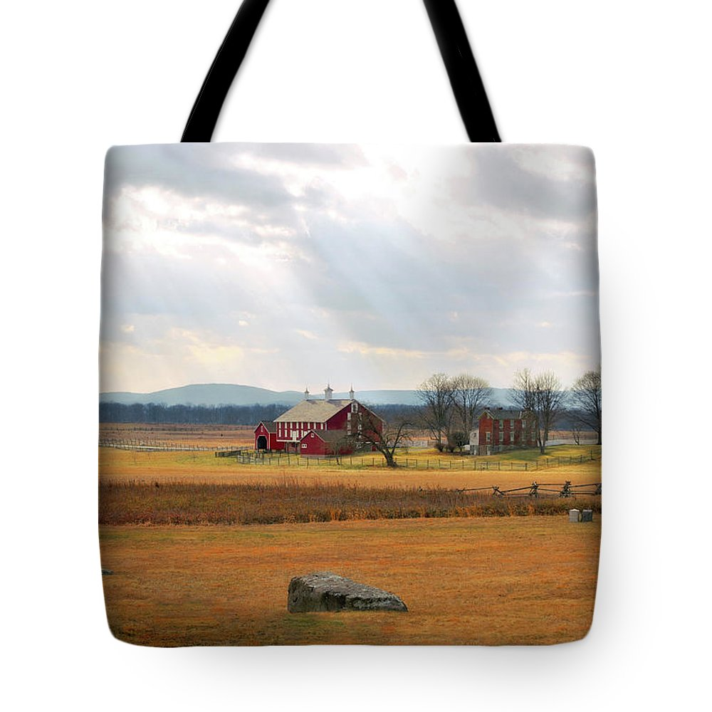 Civil War Tote Bag featuring the photograph Sun Rays On Codori Farm. by Jen Goellnitz