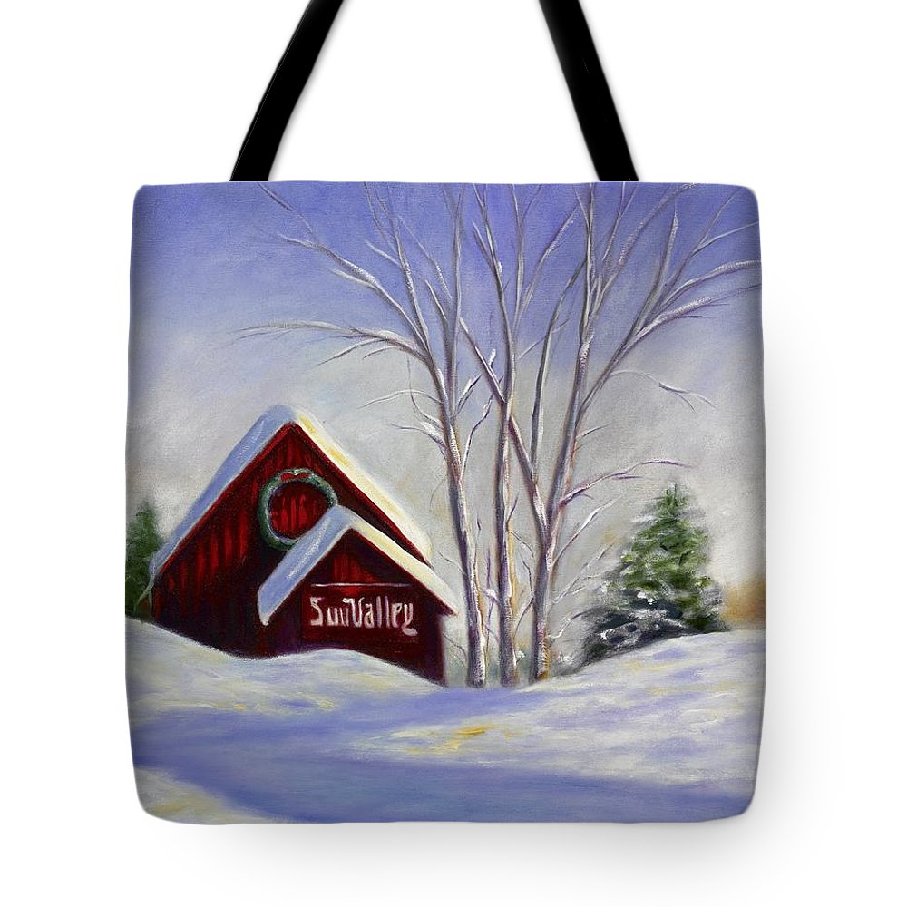 Landscape White Tote Bag featuring the painting Sun Valley 1 by Shannon Grissom