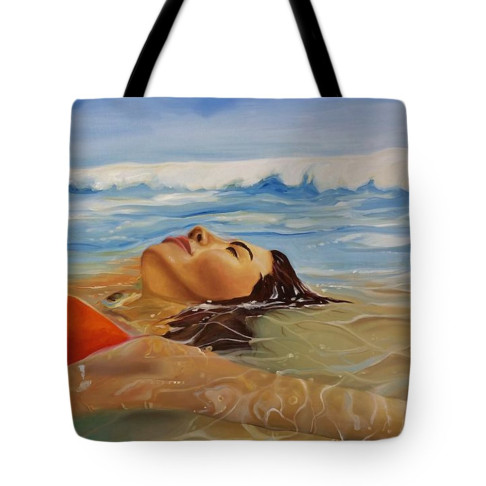 Landscape Tote Bag featuring the painting Sunbather by Crimson Shults