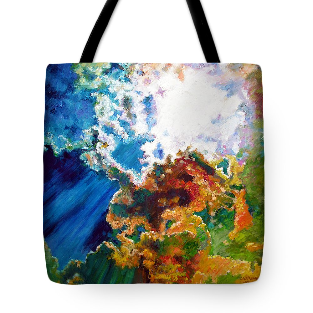 Sunburst Tote Bag featuring the painting Sunburst by John Lautermilch