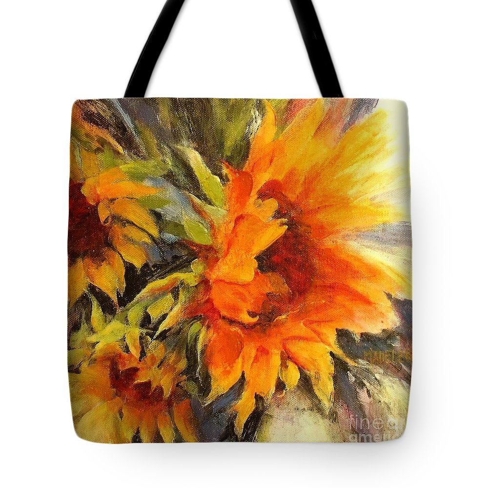 Sunflower Painting Tote Bag featuring the painting Sunburst by Madeleine Holzberg