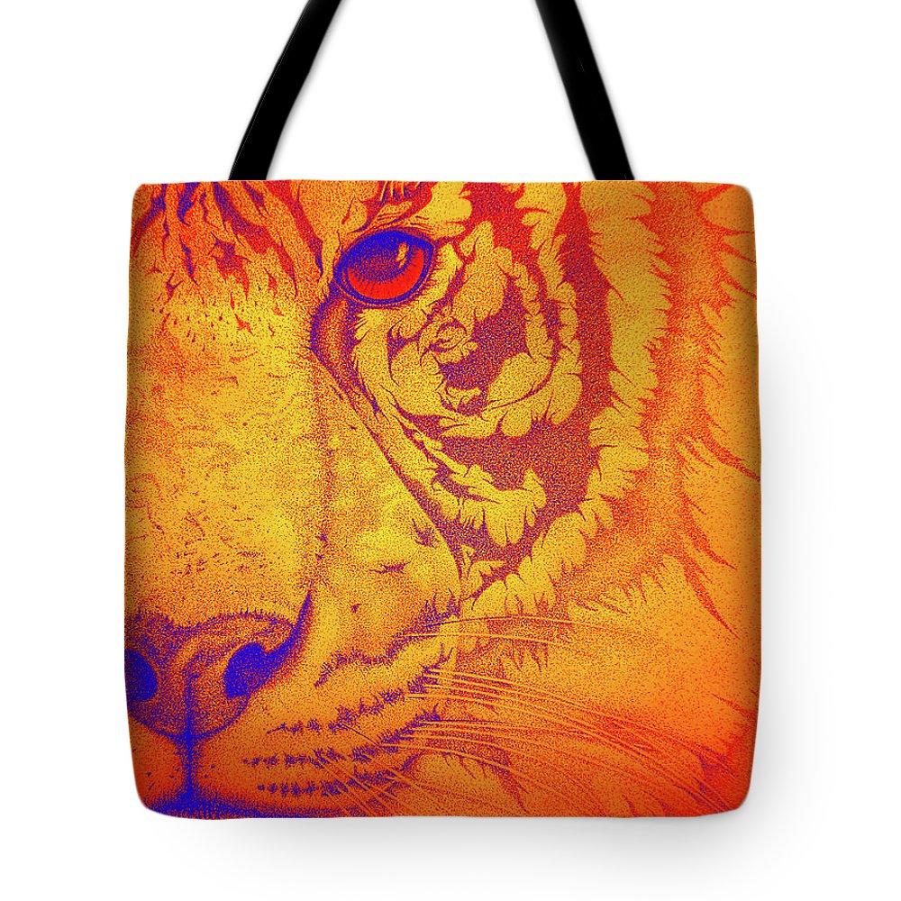 Tigers Digital Art Tote Bag featuring the drawing Sunburst Tiger by Mayhem Mediums