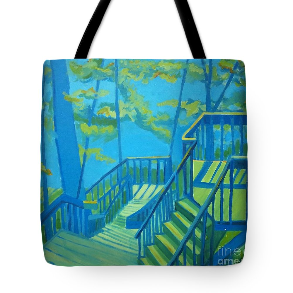 New Hampshire Tote Bag featuring the painting Suncook Stairwell by Debra Bretton Robinson