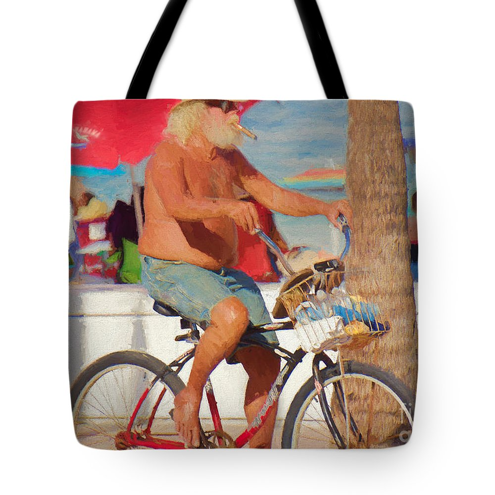 Man Tote Bag featuring the painting Sunday Afternoon by Judy Kay
