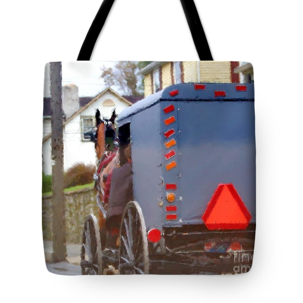 Amish Tote Bag featuring the photograph Sunday Courting by Debbi Granruth