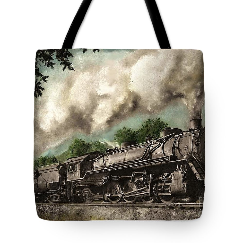 Baltimore & Ohio Railroad B&o Q4 Train Painting Railroad Maryland And Pennsylvania Autumn Fall Colors Steam Engine Tote Bag featuring the painting Sunday Drive by David Mittner