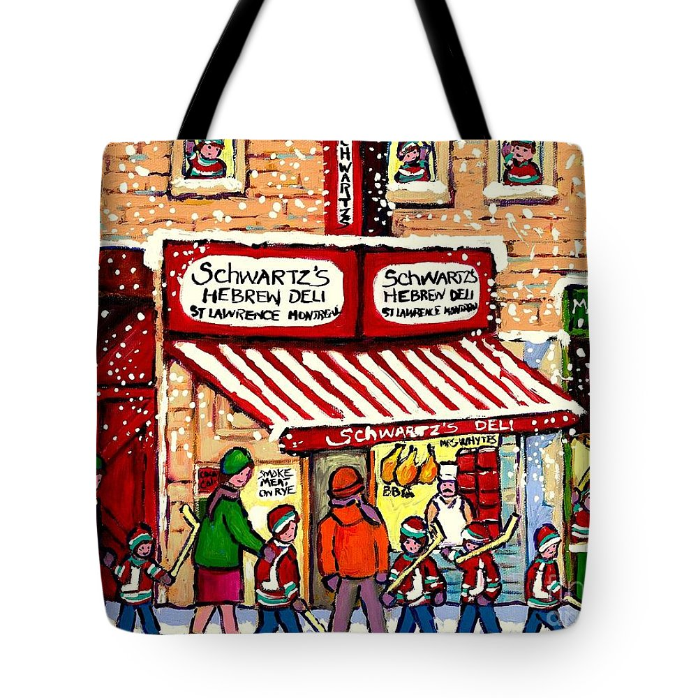 Montreal Tote Bag featuring the painting Sunday Lineup At The Deli by Carole Spandau