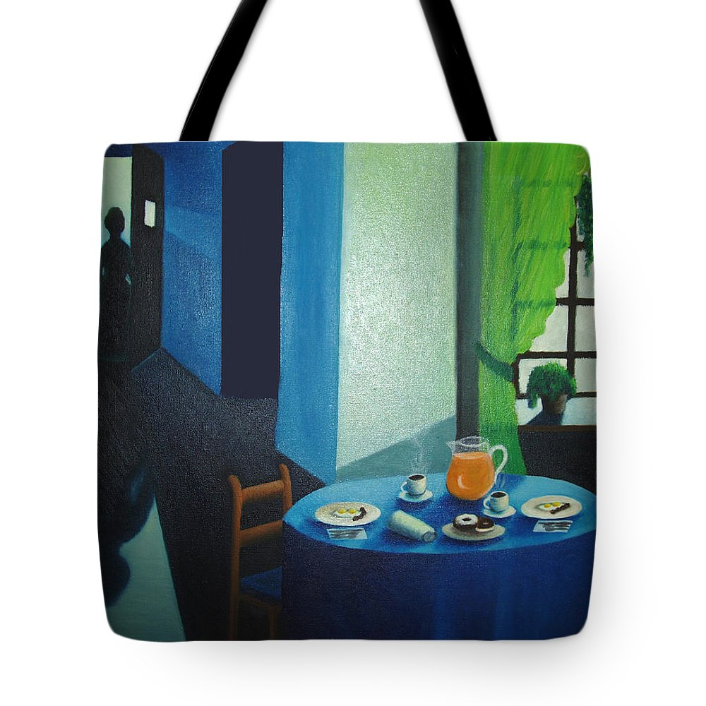 Breakfast Tote Bag featuring the painting Sunday Morning Breakfast by Nancy Mueller