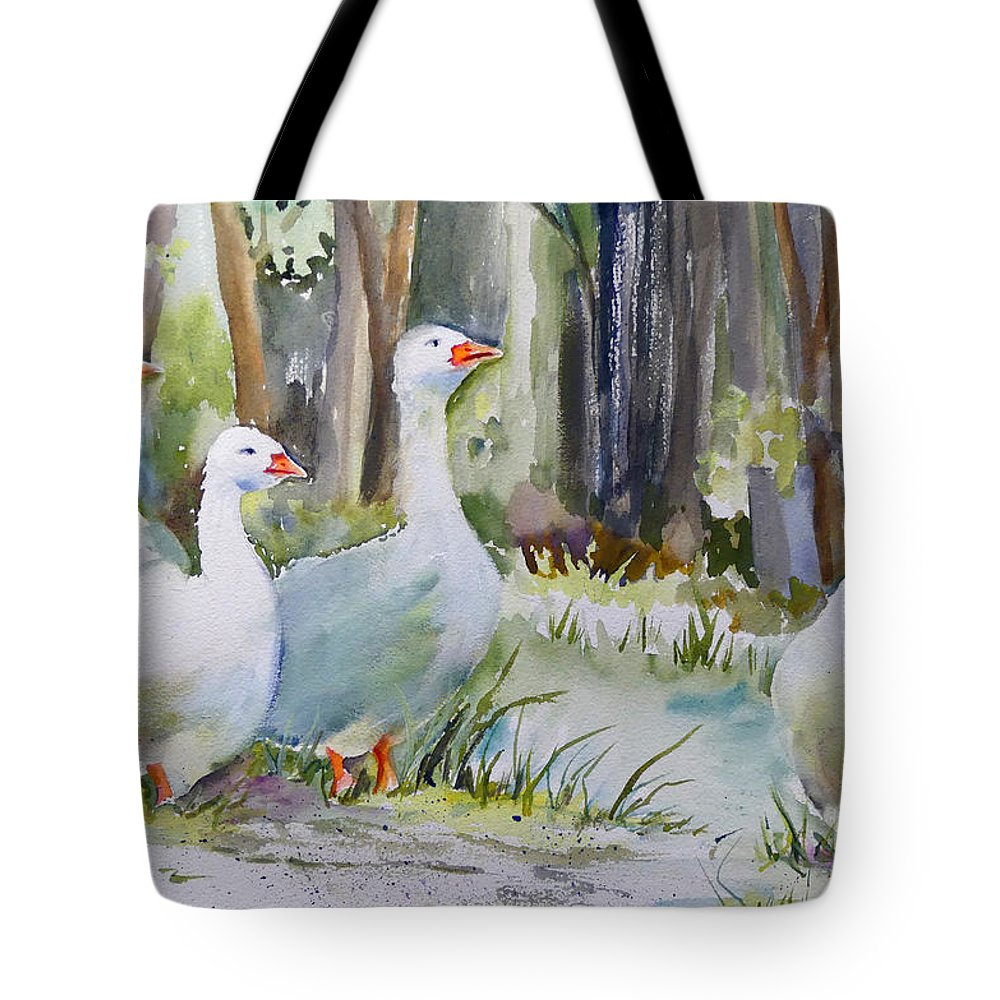 Ducks Tote Bag featuring the painting Sunday Morning by Mafalda Cento