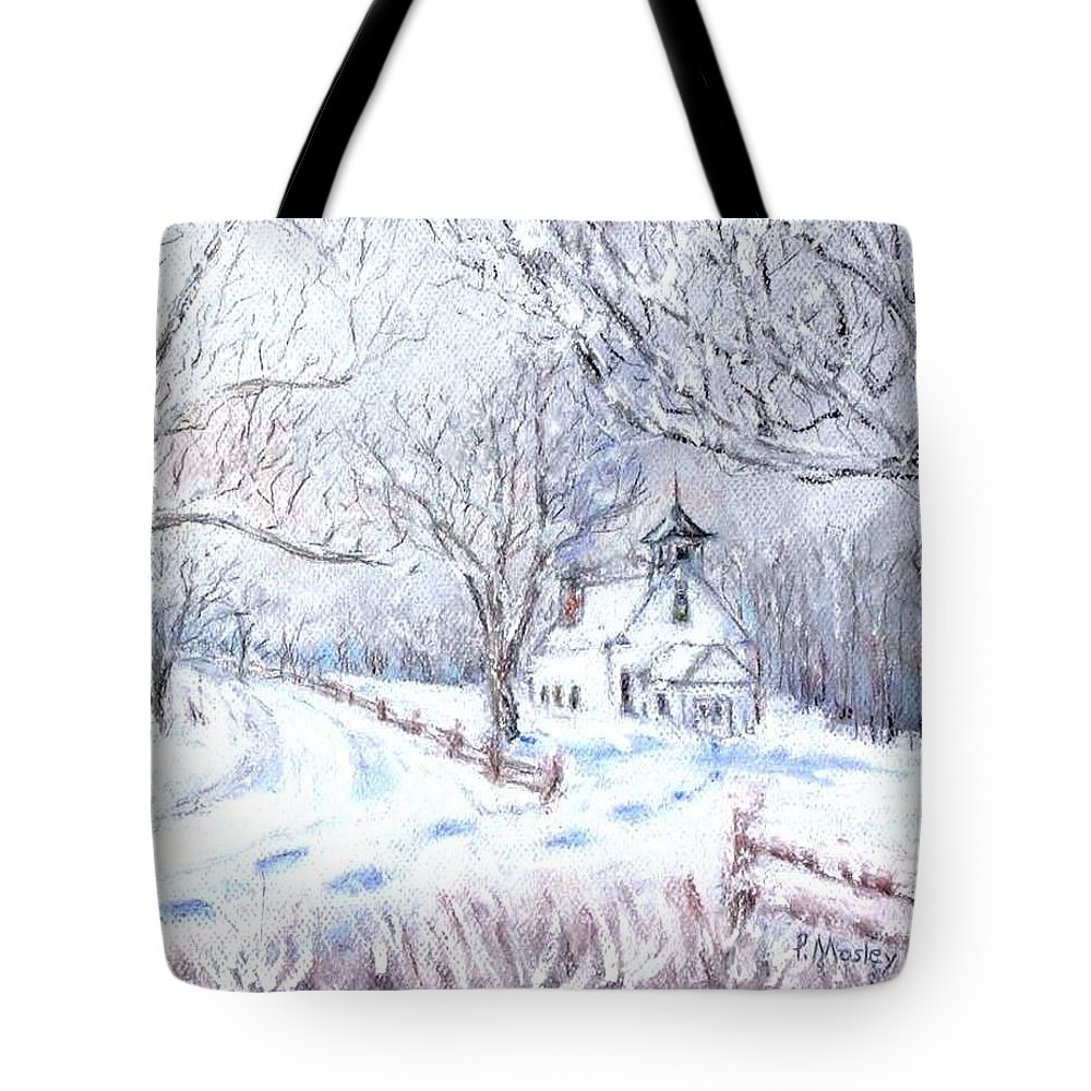 Church Tote Bag featuring the pastel Sunday Morning by Phyllis Mosley