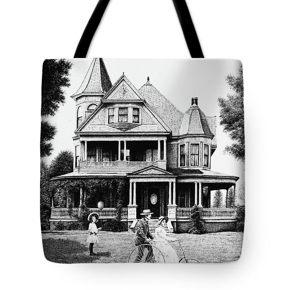 Victorian House Tote Bag featuring the drawing Sunday Morning Two by Don Locke