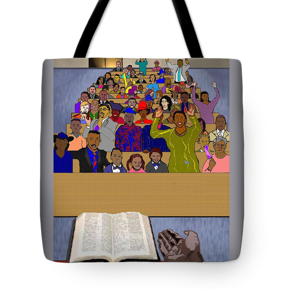 Sermon Tote Bag featuring the painting Sunday Sermon by Pharris Art