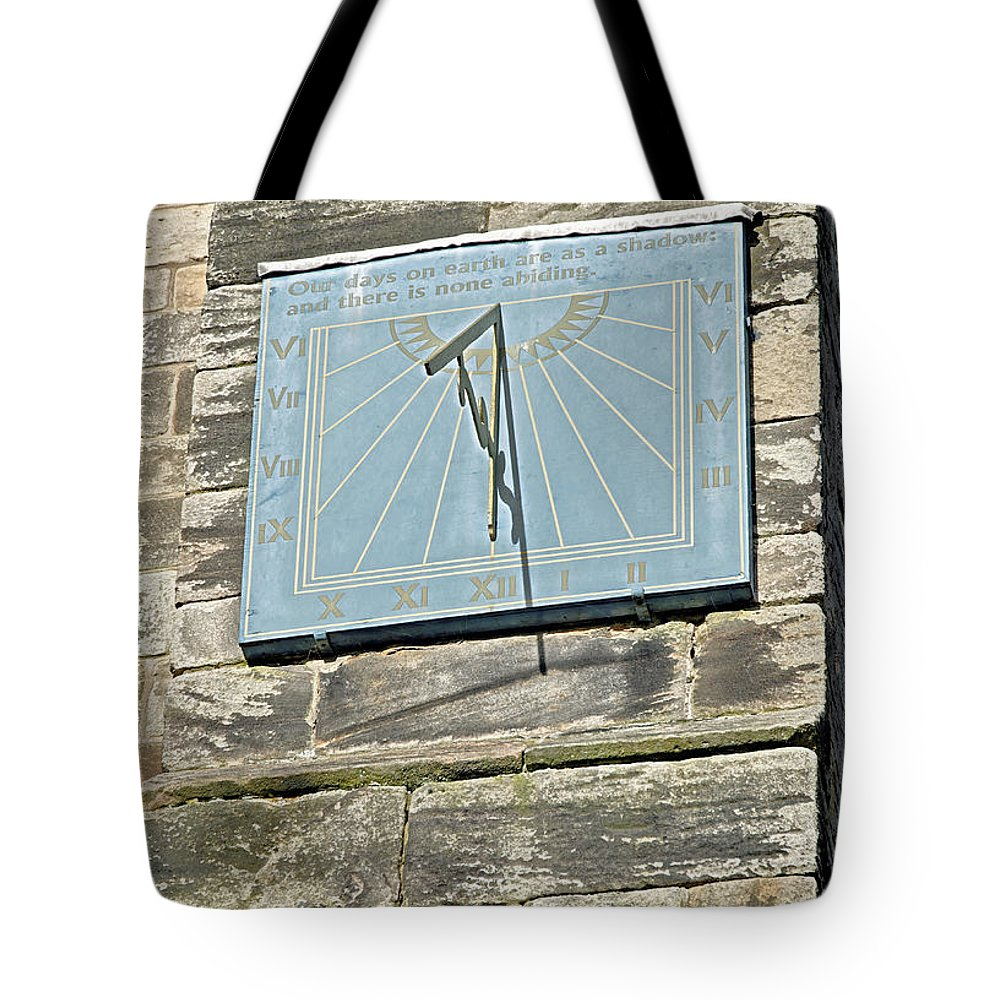 Tutbury Tote Bag featuring the photograph Sundial On St Mary's Church - Tutbury by Rod Johnson