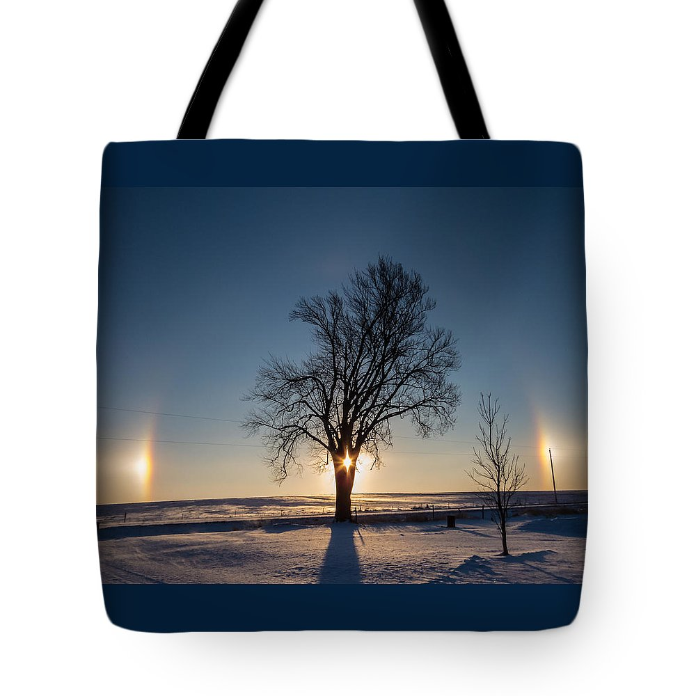 Sumner Tote Bag featuring the photograph Sundogs Around A Tree by Deb Fedeler