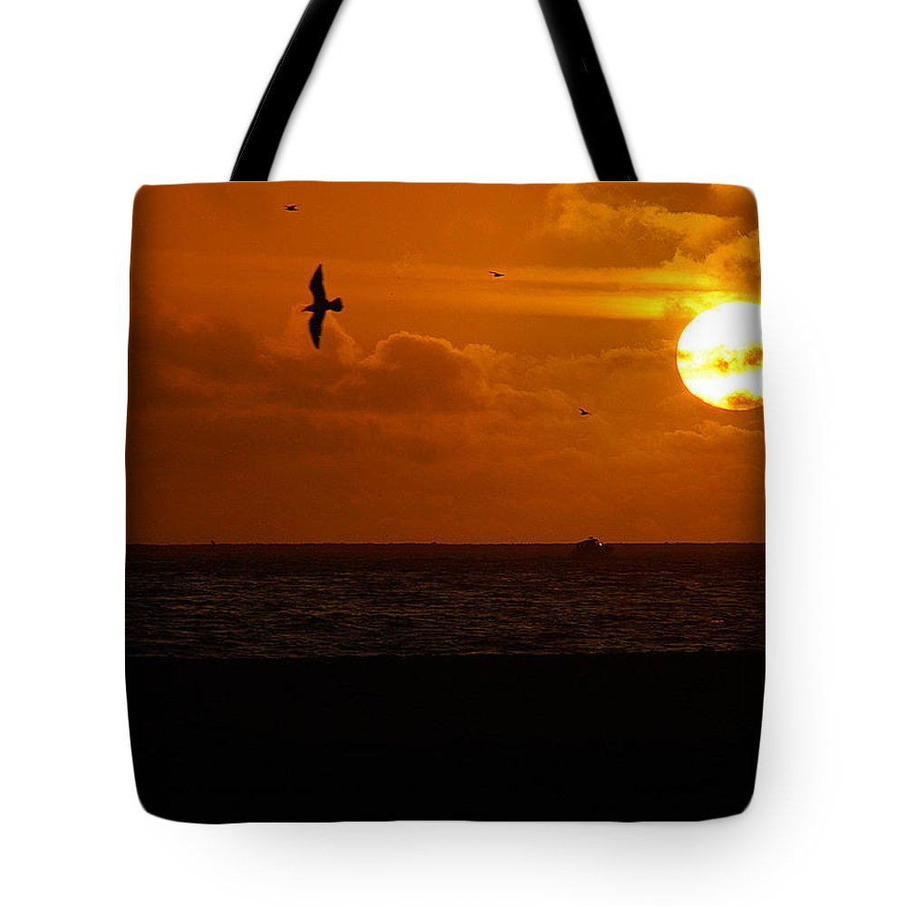 Clay Tote Bag featuring the photograph Sundown Flight by Clayton Bruster