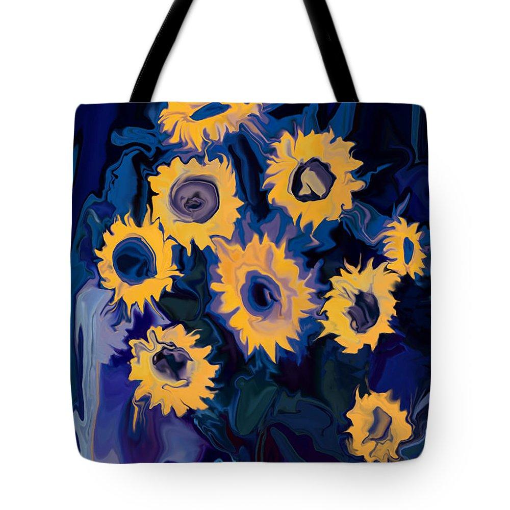 Art Tote Bag featuring the digital art Sunflower 1 by Rabi Khan