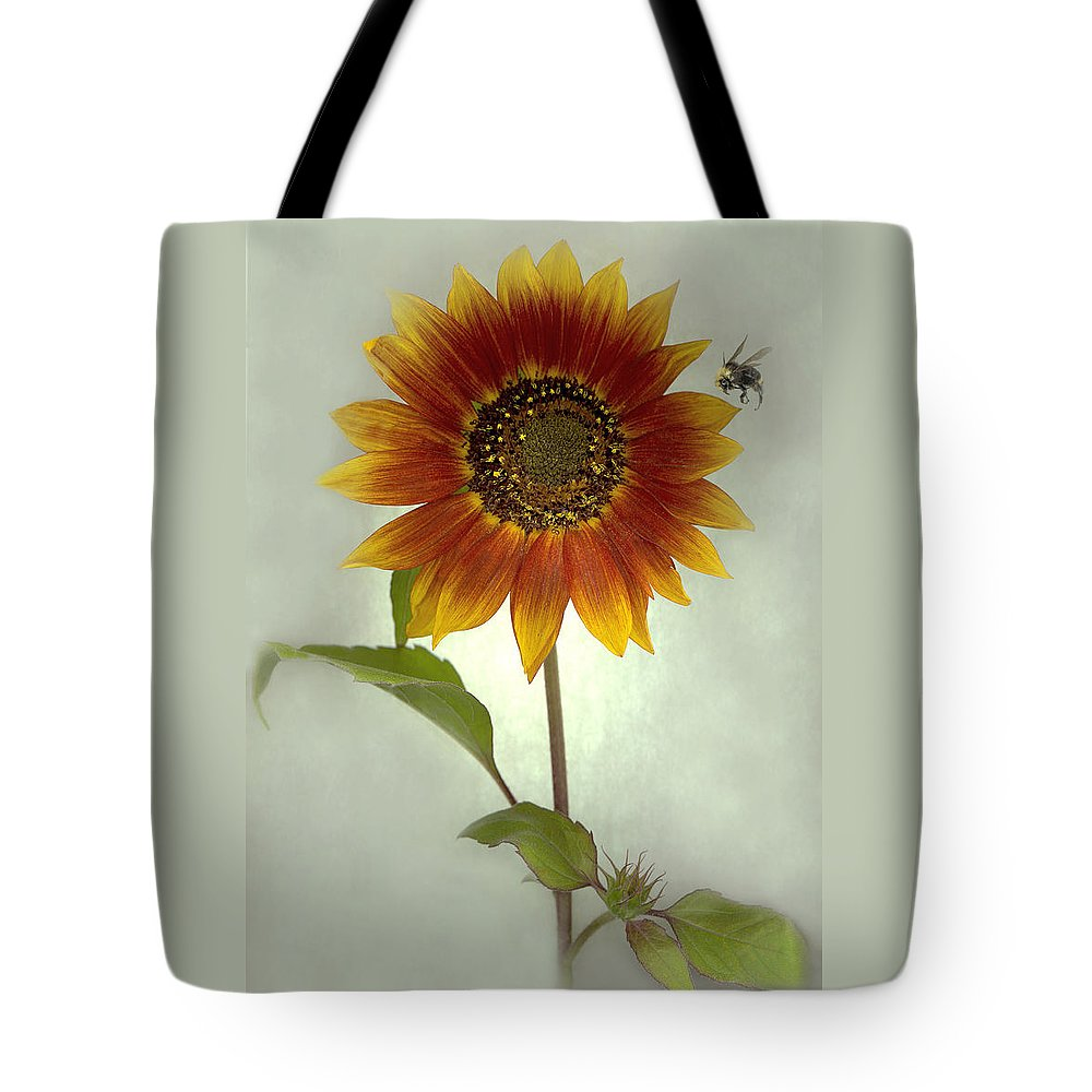 Sunflower Tote Bag featuring the mixed media Sunflower And Bee by Sandi F Hutchins