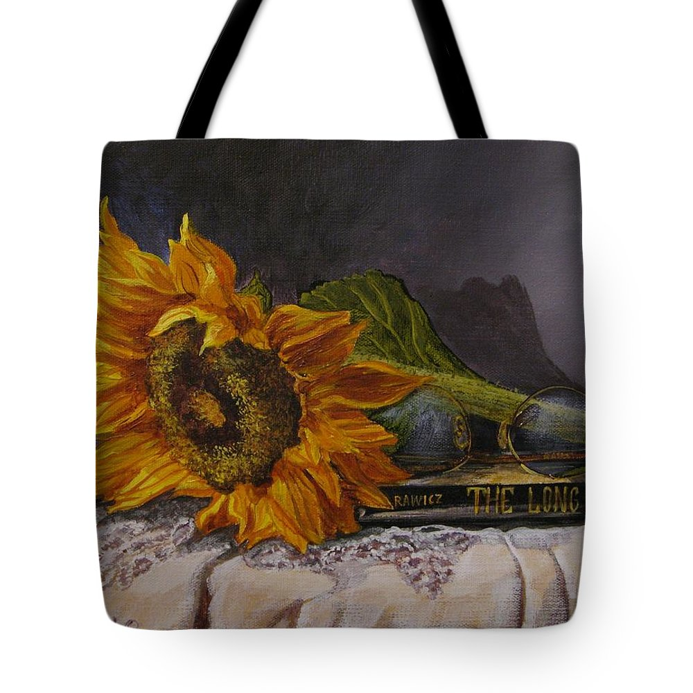 Judy Bradley Tote Bag featuring the painting Sunflower And Book by Judy Bradley