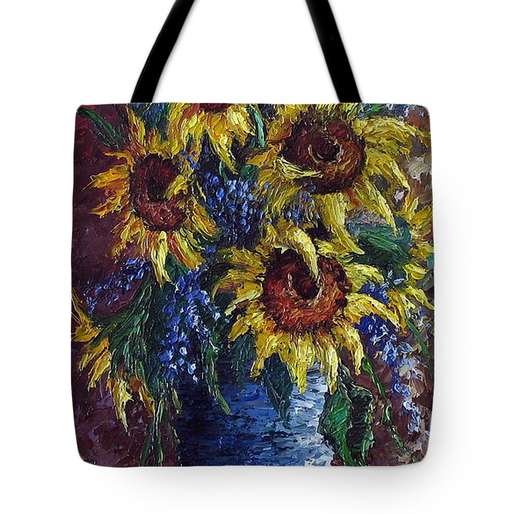 Flowers Tote Bag featuring the painting Sunflower Bouquet by David G Paul