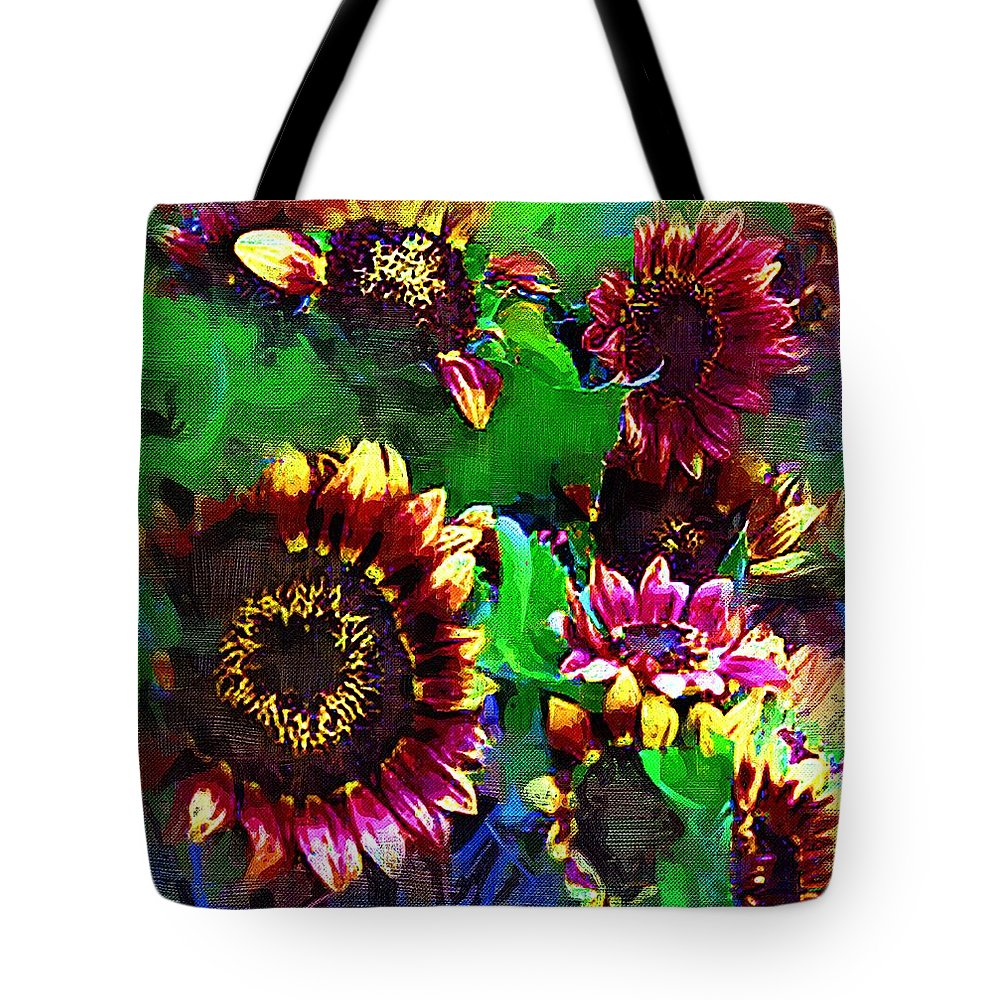 Sunflowers Tote Bag featuring the painting Sunflower Carnival by RC DeWinter