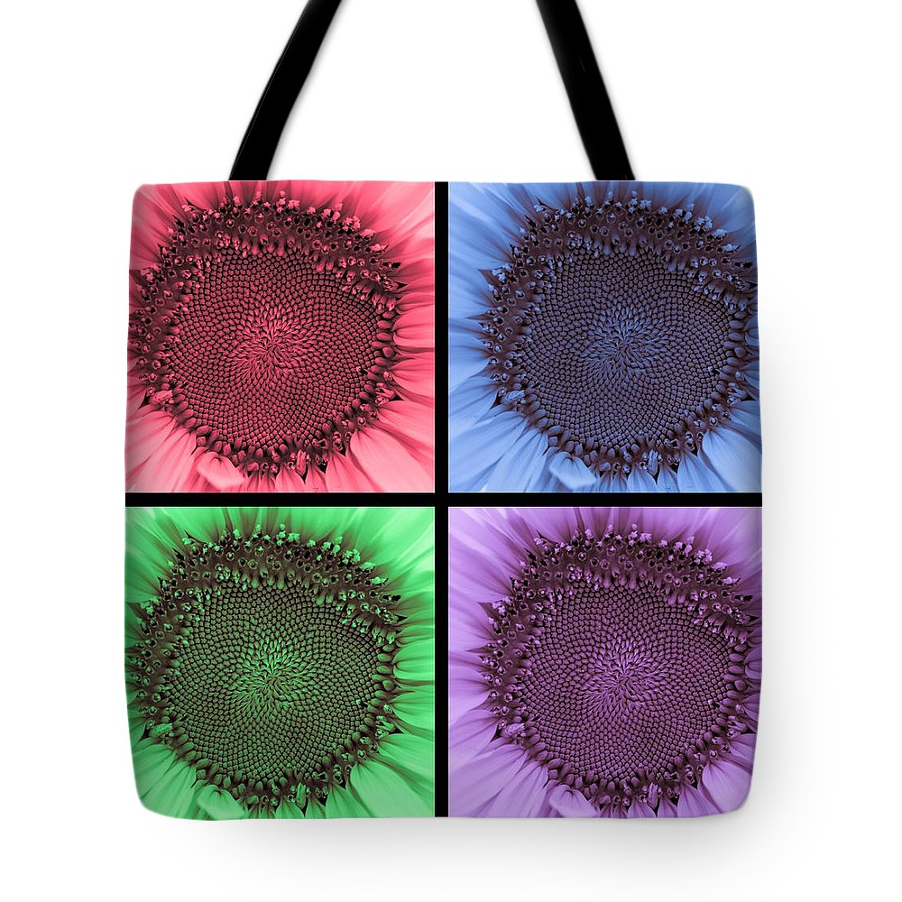 Terry D Photography Tote Bag featuring the photograph Sunflower Centered Color Collage 4 by Terry DeLuco