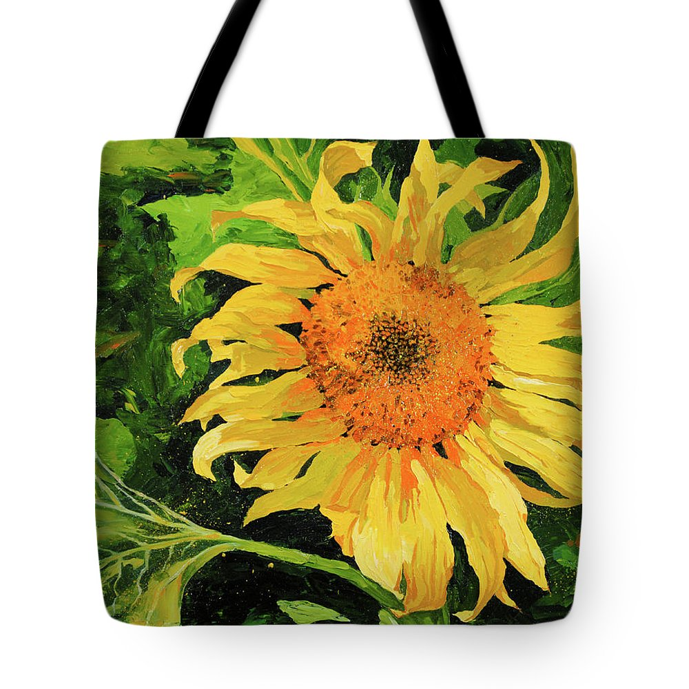 Sunflower Tote Bag featuring the painting Sunflower by Chris Steinken