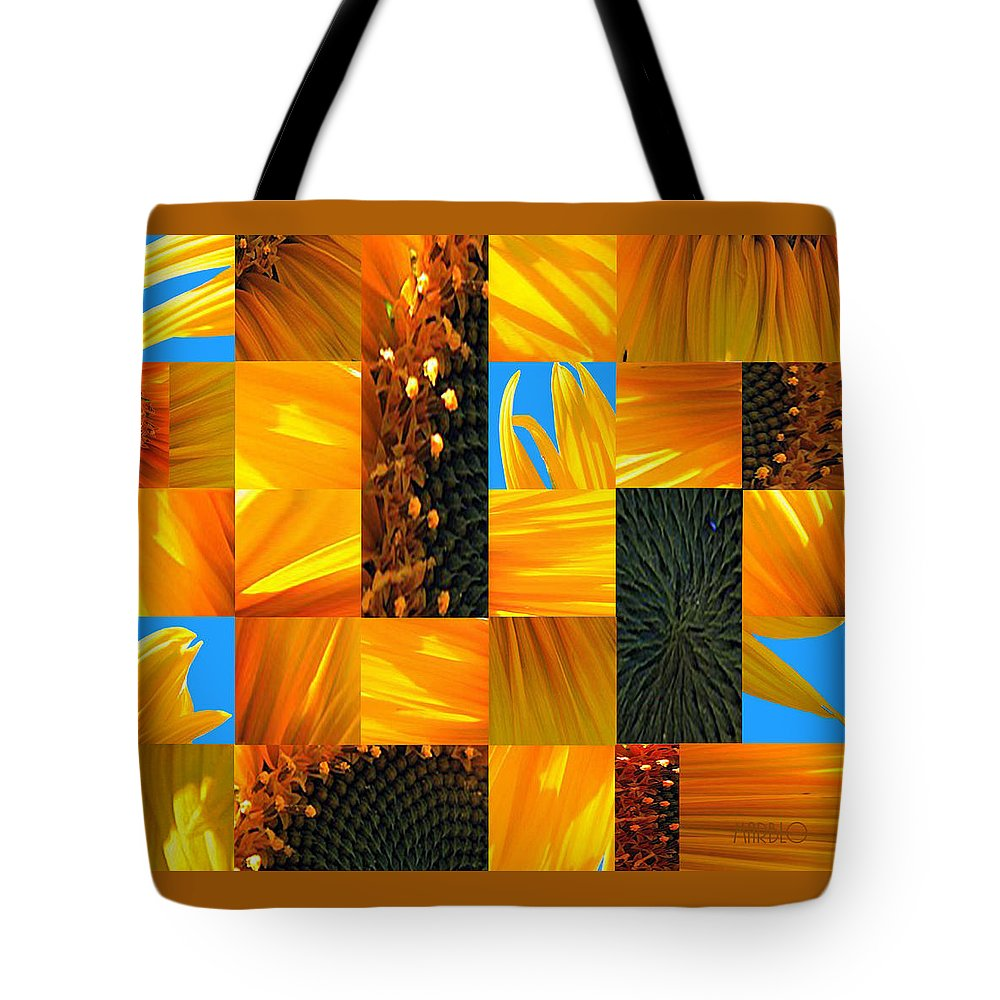 Sunflower Tote Bag featuring the photograph Sunflower Cut-up by Tommy Marblo