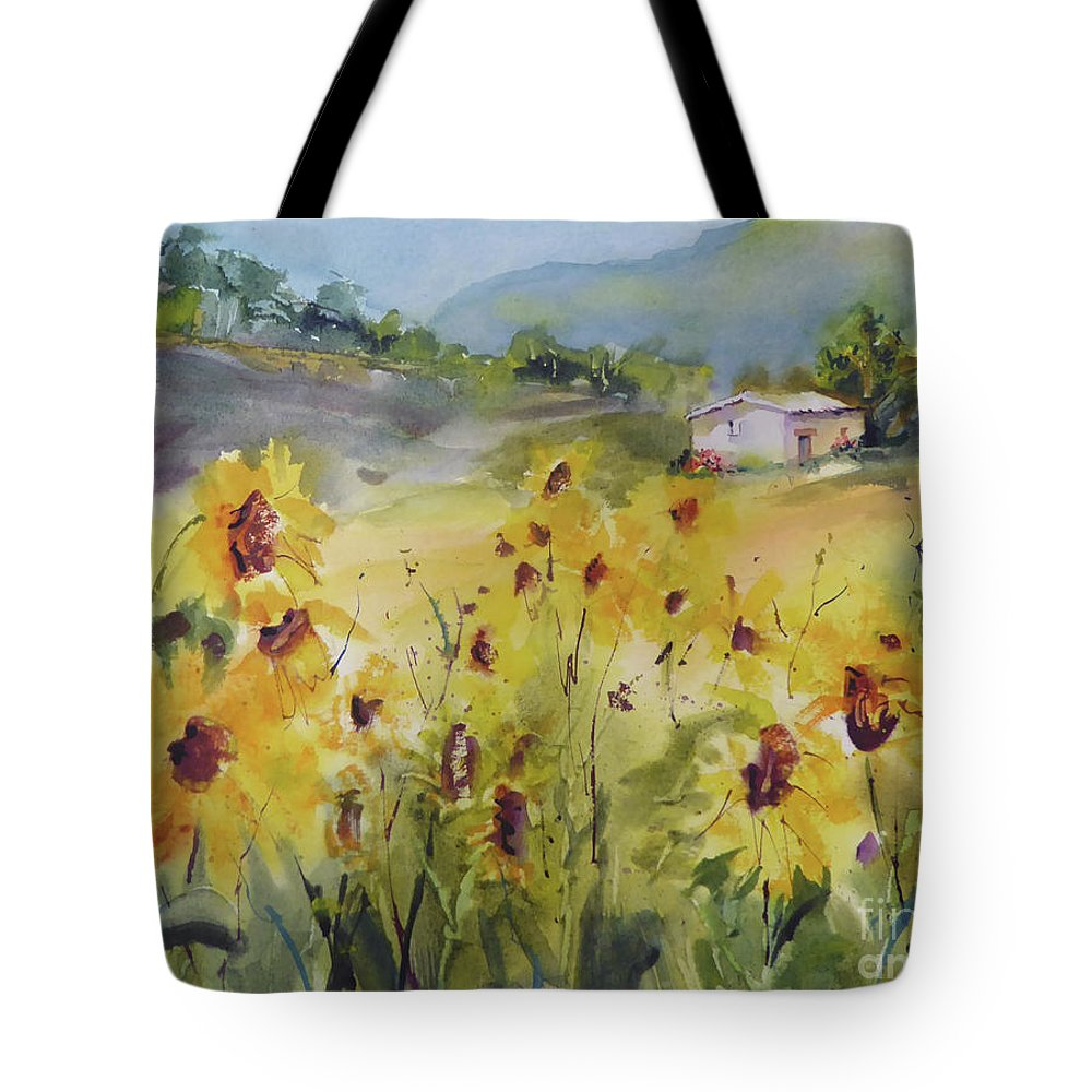 Sunflower Tote Bag featuring the painting Sunflower Fields by Jacqueline Newbold
