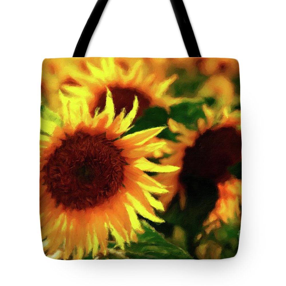 Sun Tote Bag featuring the painting Sunflower Glory by Sarah Kirk