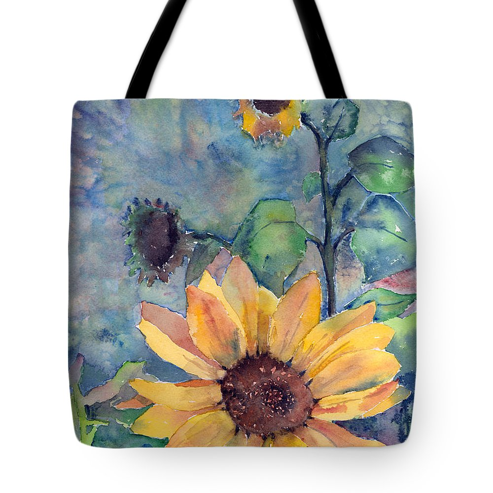 Sunflower Tote Bag featuring the painting Sunflower In Bloom by Arline Wagner