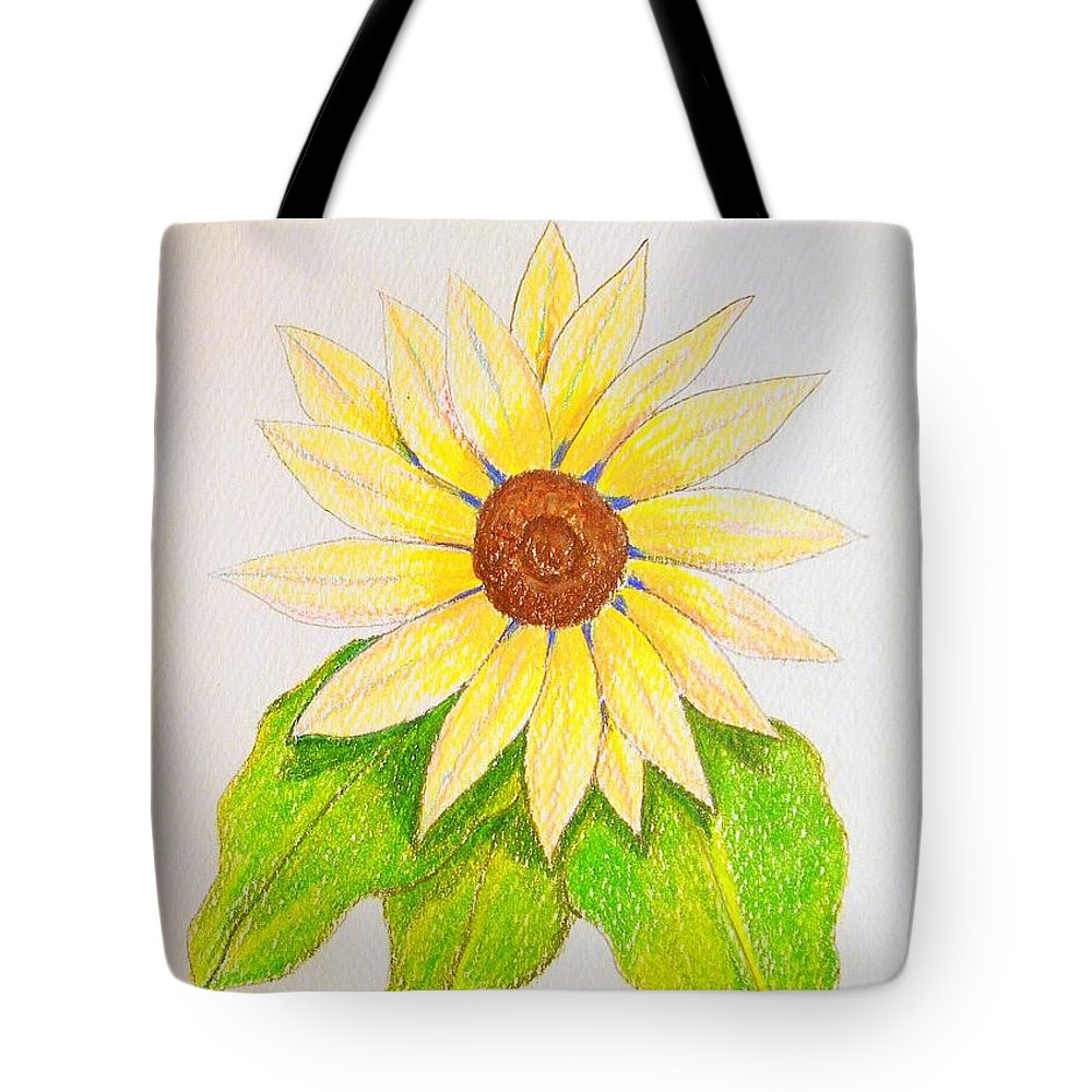 Stationery Card Tote Bag featuring the drawing Sunflower by J R Seymour