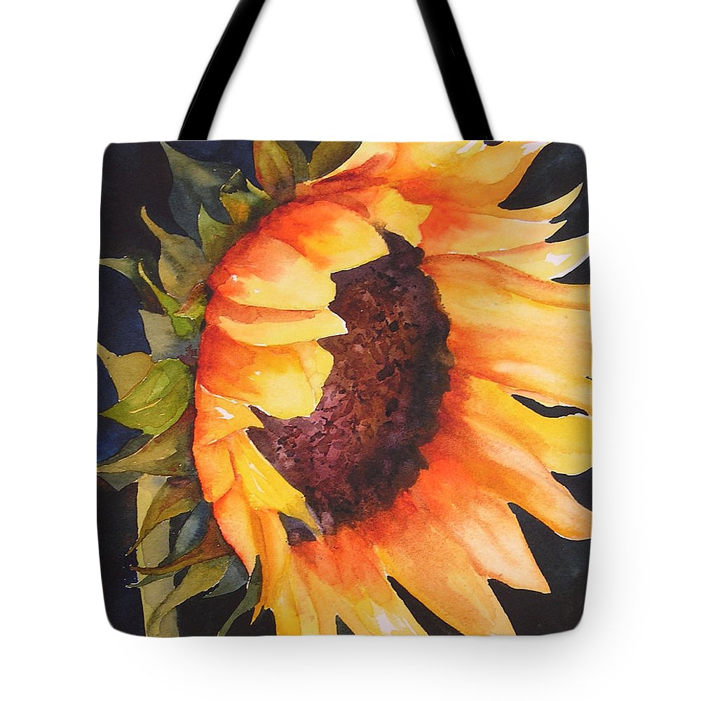 Floral Tote Bag featuring the painting Sunflower by Karen Stark