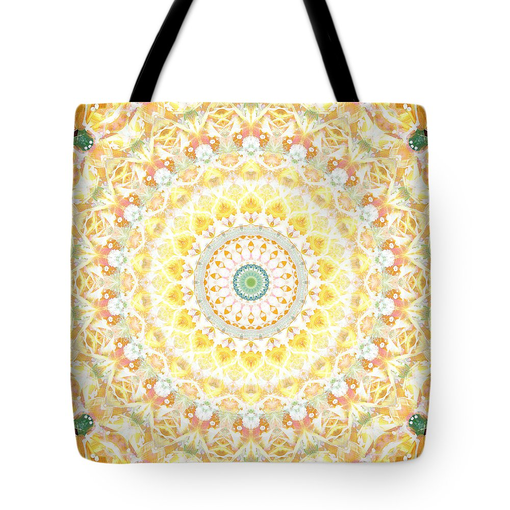 Sunflower Tote Bag featuring the painting Sunflower Mandala- Abstract Art by Linda Woods by Linda Woods