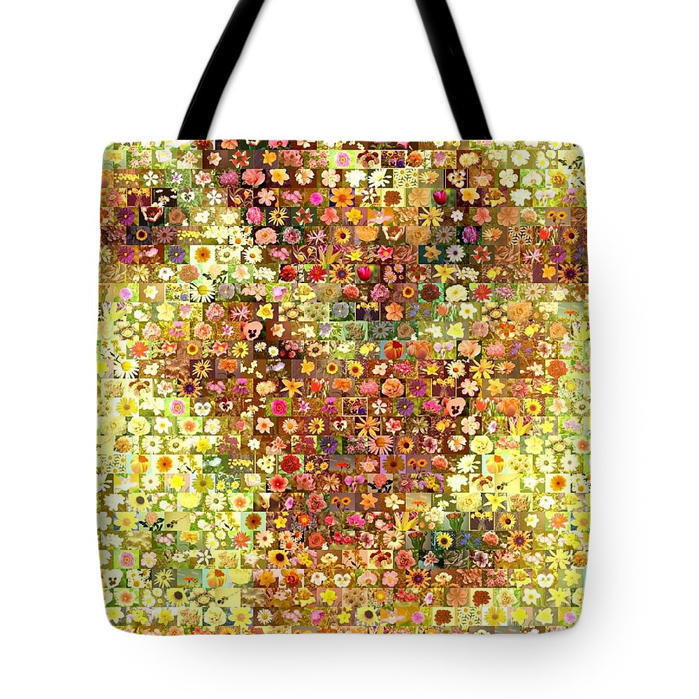 Flower Tote Bag featuring the mixed media Sunflower Mosaic by Paul Van Scott