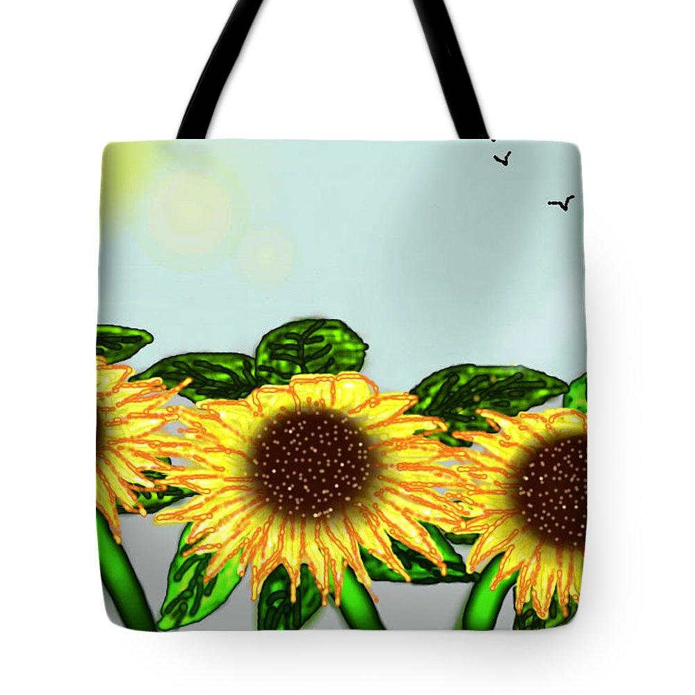 Sunflower Tote Bag featuring the digital art Sunflower by Rabia Shabbir