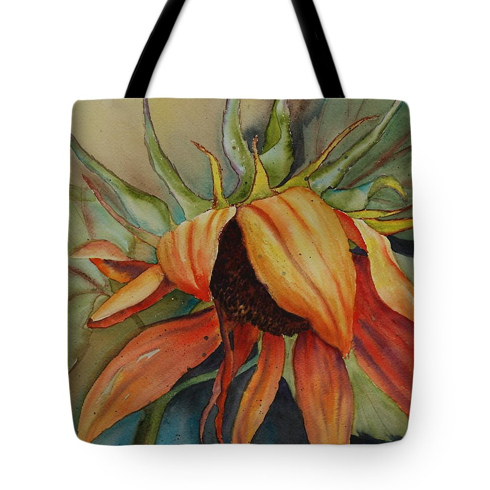 Sunflower Tote Bag featuring the painting Sunflower by Ruth Kamenev