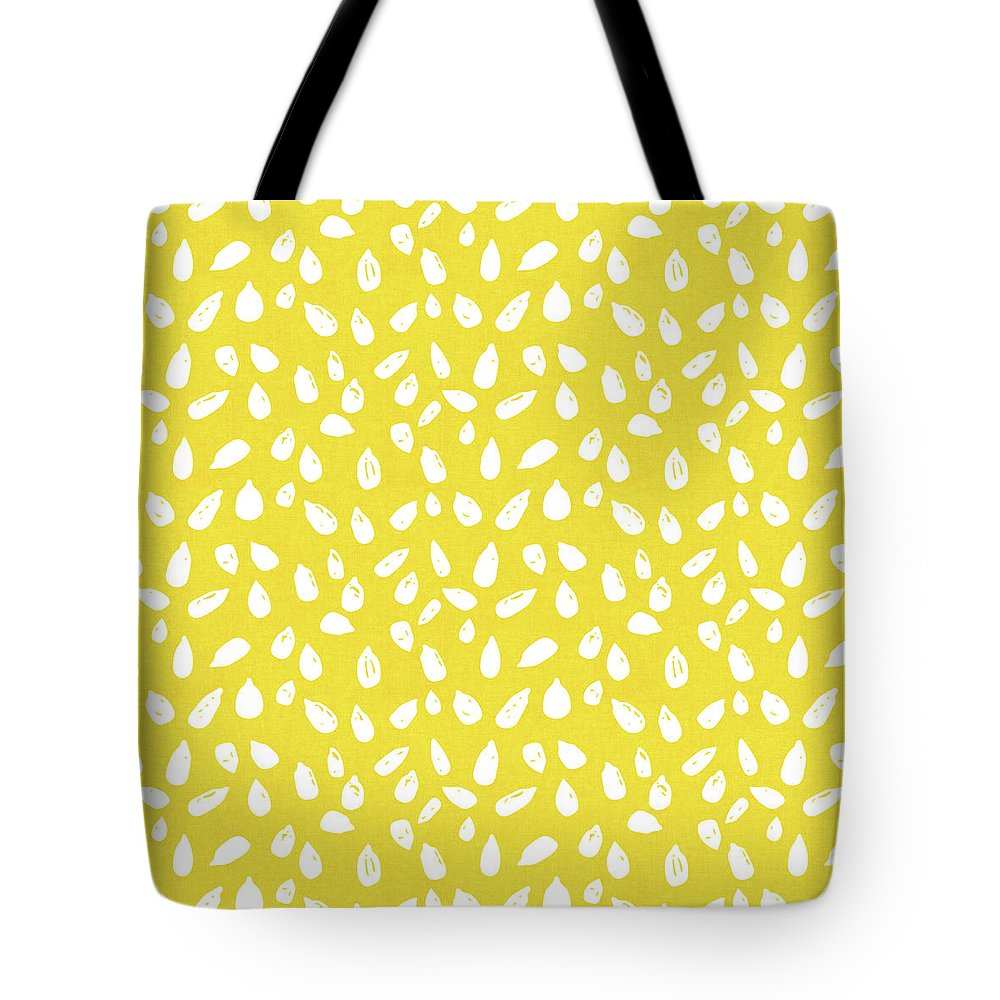 Yellow Tote Bag featuring the mixed media Sunflower Seeds- Art By Linda Woods by Linda Woods