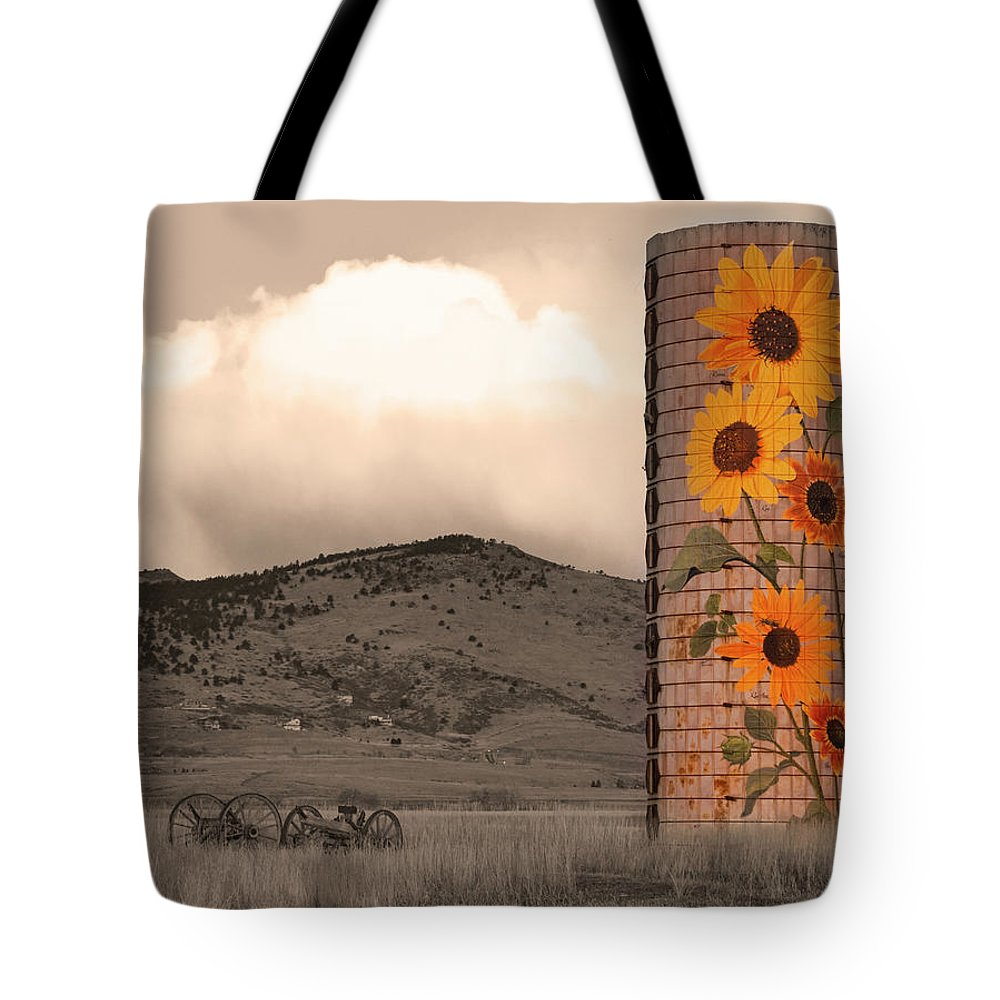 Sunflowers Tote Bag featuring the photograph Sunflower Silo In Boulder County Colorado Sepia Color Print by James BO Insogna