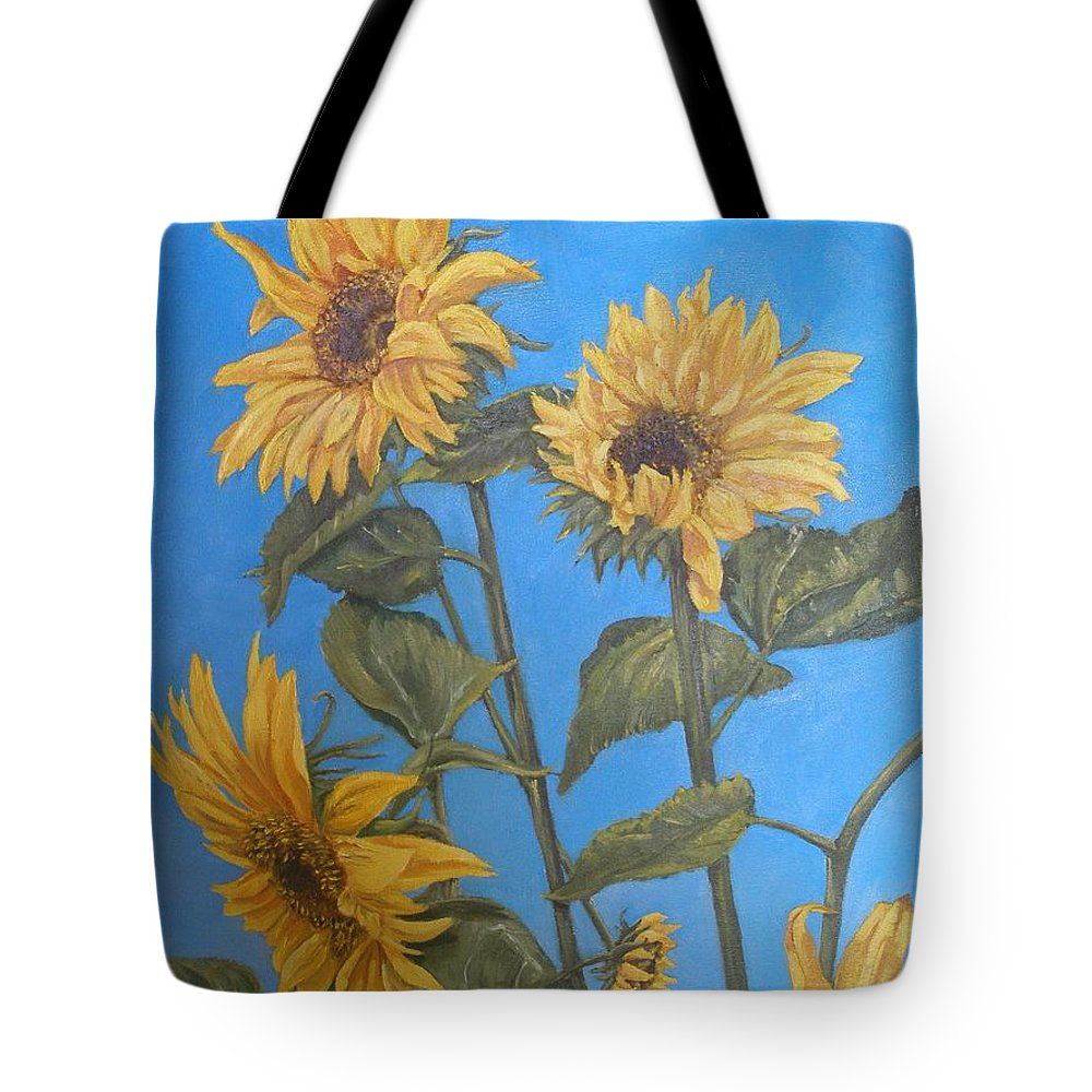 Sunflower Tote Bag featuring the painting Sunflower by Travis Day