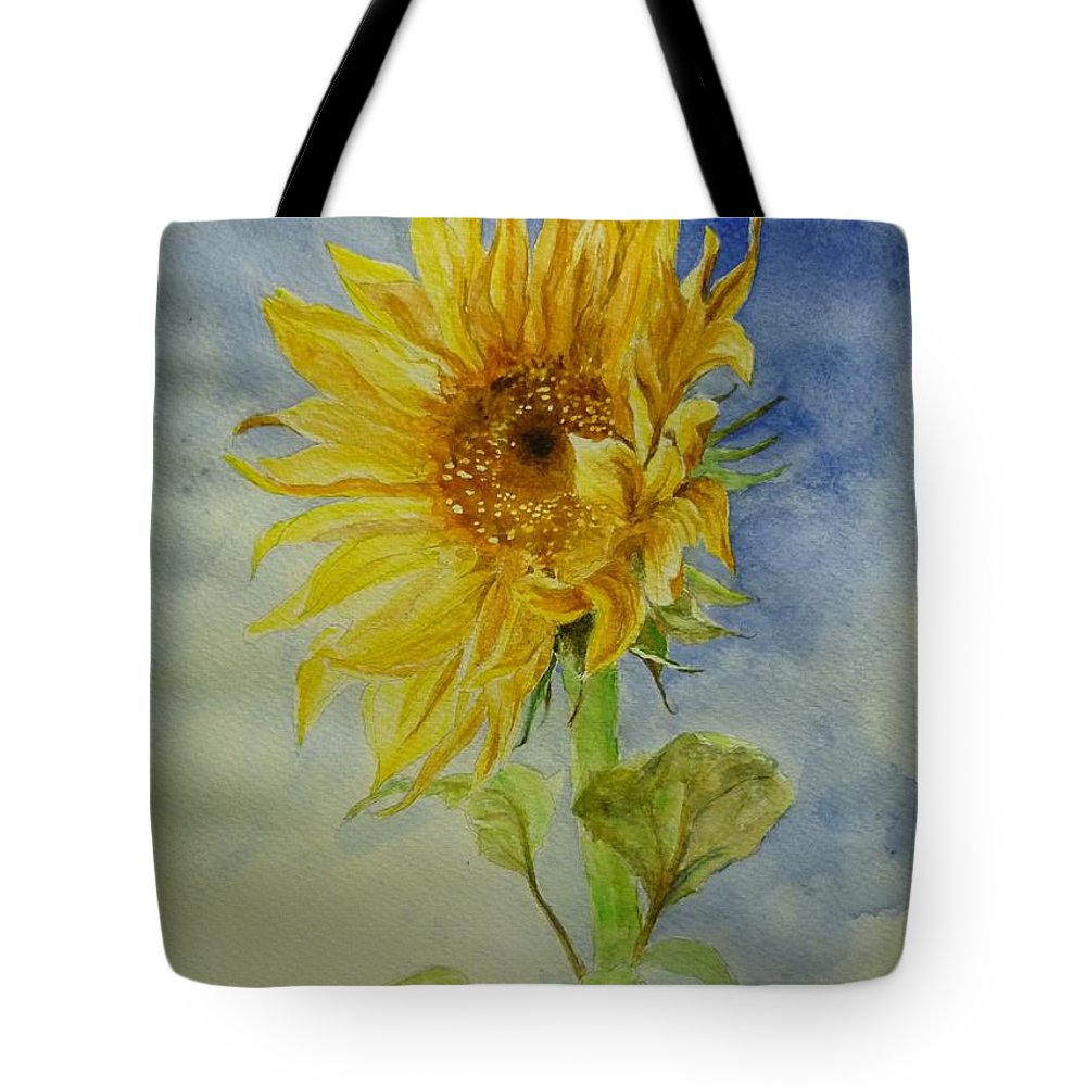 Sunflower Tote Bag featuring the painting Sunflower Tribute To Van Gogh by Lizzy Forrester