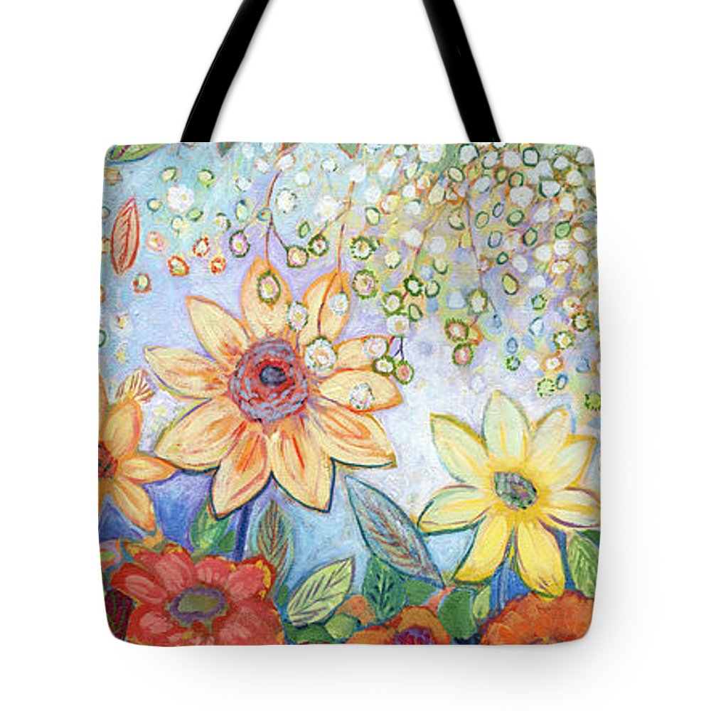 Abstract Tote Bag featuring the painting Sunflower Tropics by Jennifer Lommers