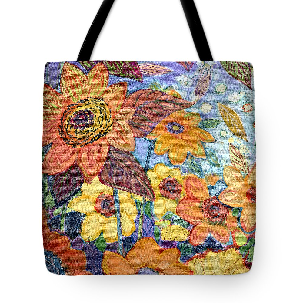 Sunflower Tote Bag featuring the painting Sunflower Tropics Part 1 by Jennifer Lommers