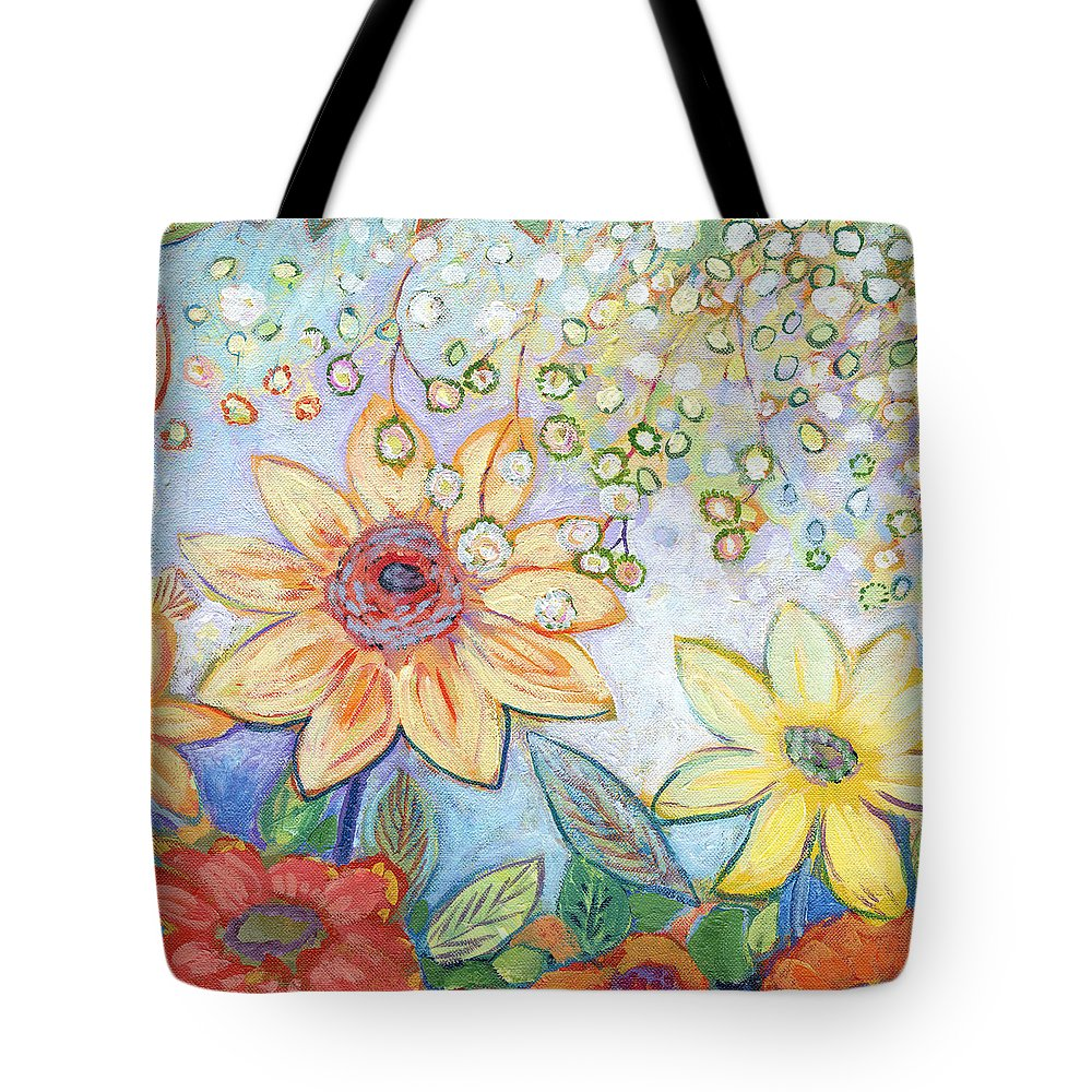 Sunflower Tote Bag featuring the painting Sunflower Tropics Part 2 by Jennifer Lommers