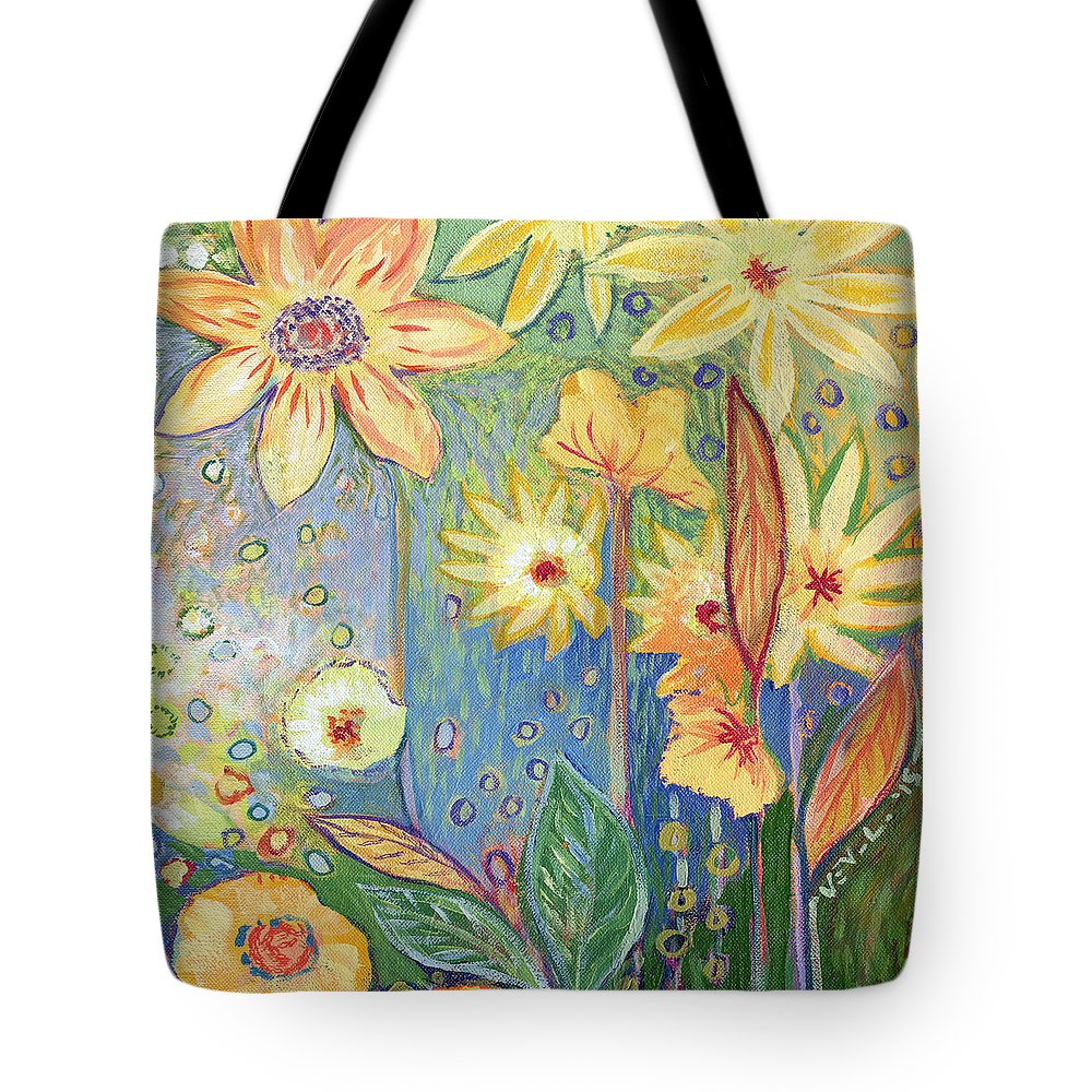 Sunflower Tote Bag featuring the painting Sunflower Tropics Part 3 by Jennifer Lommers