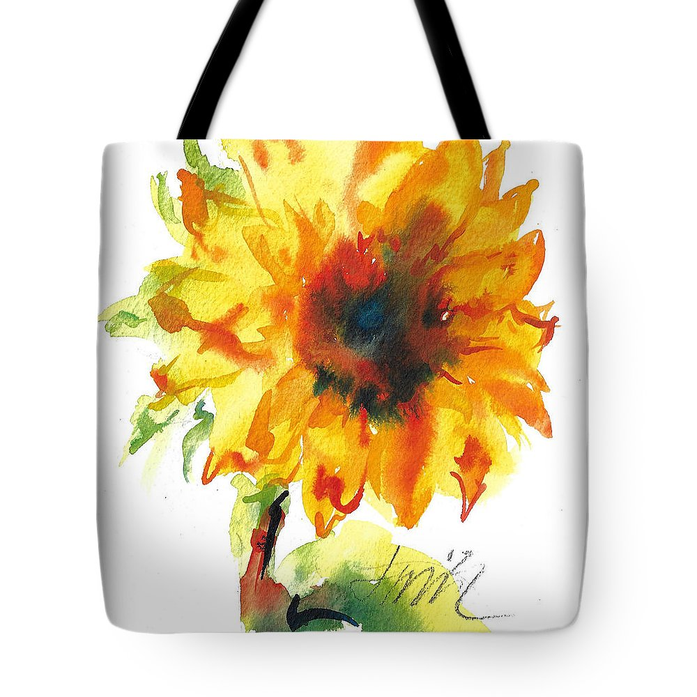 Floral Tote Bag featuring the painting Sunflower With Blues by Jacki Kellum