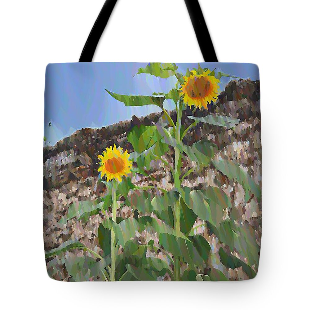 Sunflowers Tote Bag featuring the photograph Sunflowers And A Stone Wall by Bill Cannon
