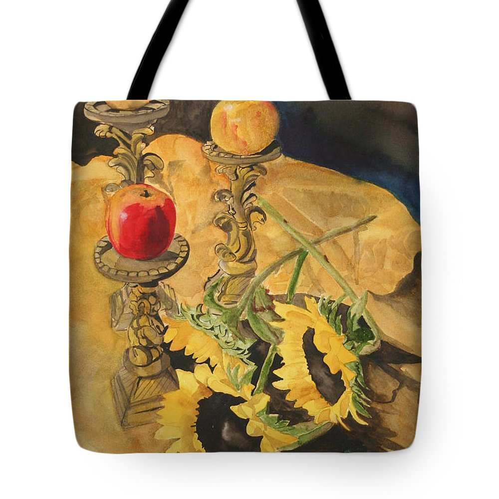 Still Life Tote Bag featuring the painting Sunflowers And Apples by Jean Blackmer