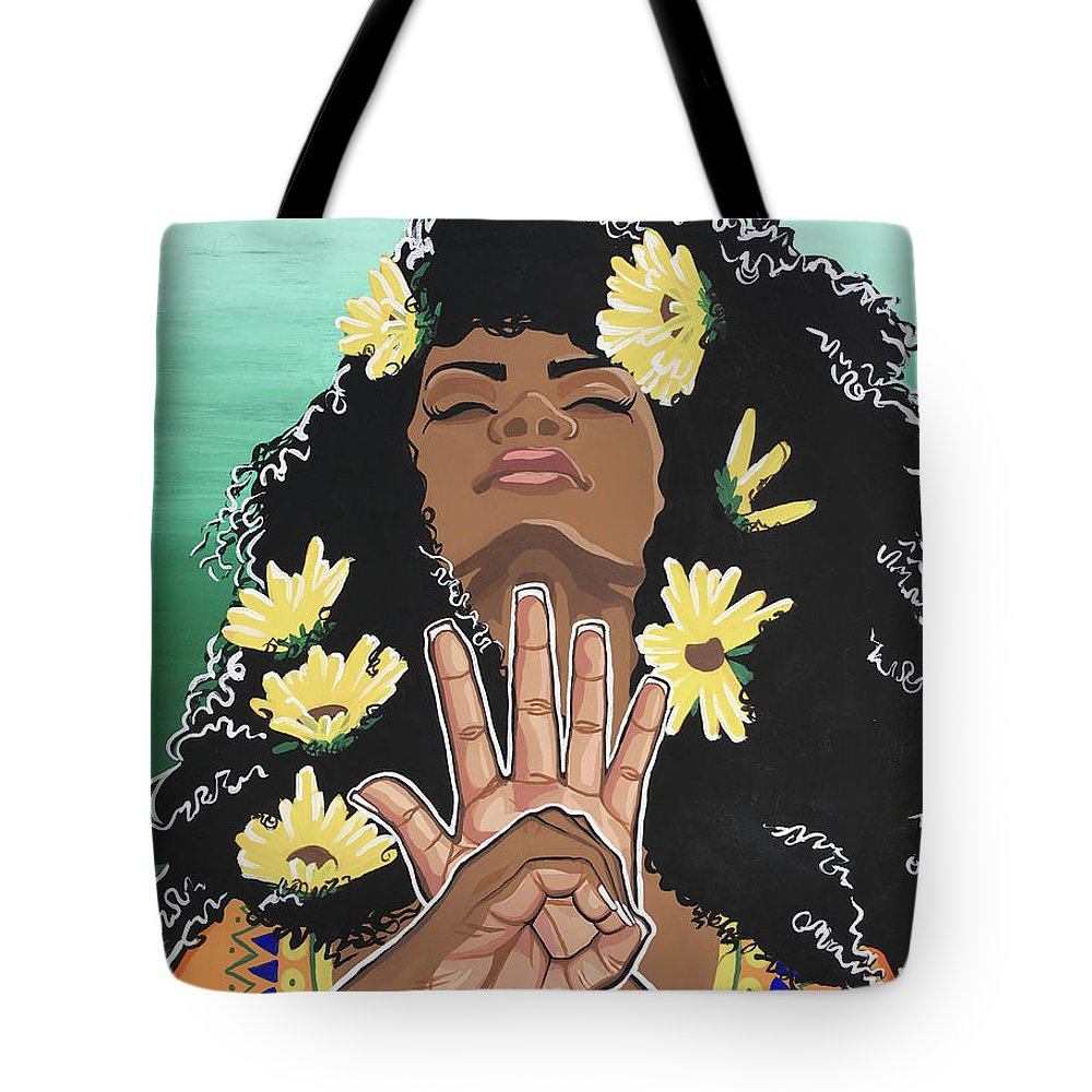 Dashiki Tote Bag featuring the painting Sunflowers And Dashiki by Alisha Lewis