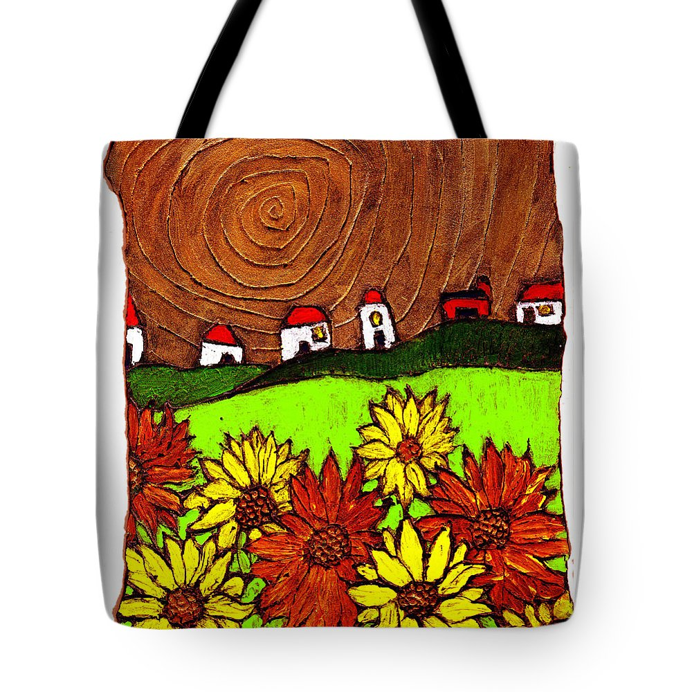 Flowers Tote Bag featuring the painting Sunflowers And Fields by Wayne Potrafka